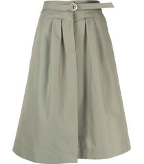 a.p.c. caroline belted a-line skirt - green