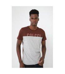 camiseta colcci logo marrom/cinza