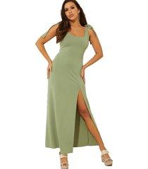 vestido sl tessa maxi dress g8x6 verde guess