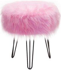 banqueta mali redonda revestida com pelos alto rosa - ds móveis