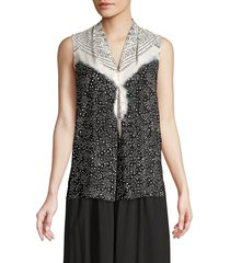 kobi halperin women's sophie ditsy-print silk blouse - ivory multi - size xl