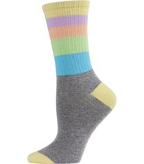 memoi pastel stripe women's crew socks