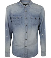 balmain back logo print denim shirt