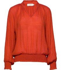 alicecr blouse blus långärmad orange cream