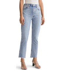 agolde riley high waist step hem jeans, size 32 in zephyr at nordstrom