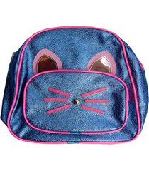 mochilinha lua nova infantil gatinho azul e rosa com brilho.. - azul marinho/cinza - menina - dafiti