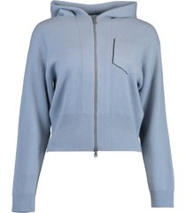 cashmere ribbed hooded cardigan