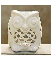 ceramic oil warmer, 'cozy owl' (thailand)