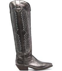 paul warmer metallic-effect western knee-high boots - grey