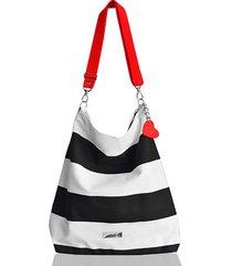 marynarski worek w pasy z blaszką/ torba plażowa