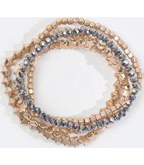 amara star beaded stretch bracelet set - hematite