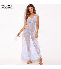 zanzea bikini de verano para mujer vestido de playa de encaje vestidos largos camisón -blanco