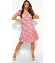 elastische bloemenprint mini jurk met pofmouwen, roze
