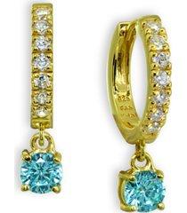 clear & blue cubic zirconia dangle drop huggie hoop earring in 18k gold plated sterling silver