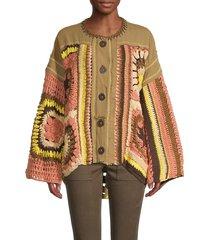 free people women's no rain sweater - olive - size s