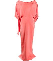 hellessy off-shoulder cape-detail evening dress - pink