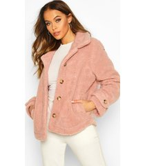 teddy faux fur curved hem coat, rose