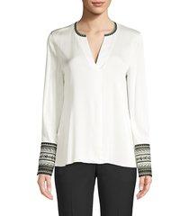 kobi halperin women's jona embroidered-cuff stretch-silk blouse - black - size xs
