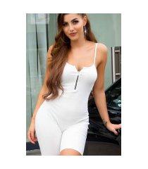 trendy gebreide jumpsuit met ritssluiting wit