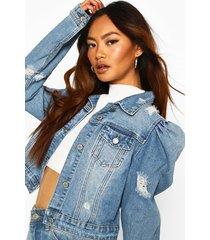 distressed puff shoulder detail jean jacket, mid blue