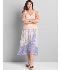 lane bryant women's a-line faux wrap skirt 22/24 floral garland