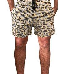 shorts praia estampado j10 microfibra com elastano estampa  divertida 01022 amarelo