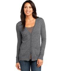district made dm415 ladies cardigan sweater - warm grey
