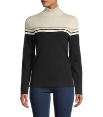 anne klein women's striped turtleneck cotton-blend top - anne black white combo - size xl
