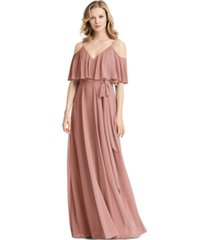 jenny packham ruffled cold-shoulder maxi dress