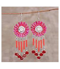 recycled paper beaded dangle earrings, 'pink fusion' (india)