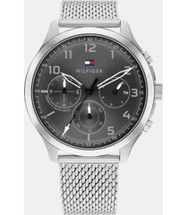 tommy hilfiger men's sub-dials watch wi mesh bracelet silver -