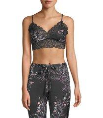 natori women's floral-print bralette - black - size m