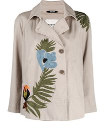 bazar deluxe embroidered short trench coat - neutrals
