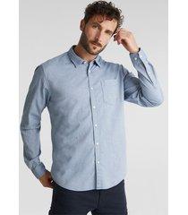 camisa slim manga larga texturada azul oscuro esprit