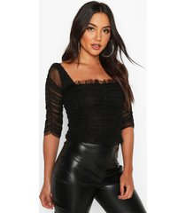 all over ruched mesh top