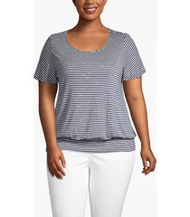 lane bryant women's striped banded-hem tee 26/28 navy/ white stripe
