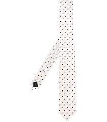 dolce & gabbana polka dot embroidered tie - white