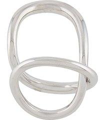 charlotte chesnais ribbon twist ring - silver