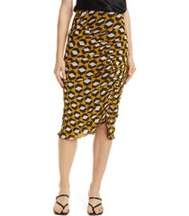 dvf christy ruched mesh skirt, size medium in arrow head yellow at nordstrom