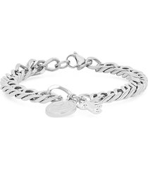 anthony jacobs men's cuban-link stainless steel religious charm bracelet