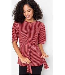 gestreepte blouse met knoop