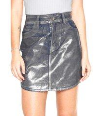 saia jeans colcci curta metalizada azul/ prata
