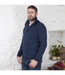 donegal wool irish zipper sweater blue medium
