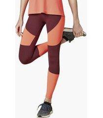 calça legging com recortes color block vermelho p