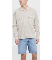 premium by jack & jones jprblabrentford overshirt l/s skjortor ljus grå
