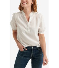 lucky brand clip dot ruffle-trimmed popover top