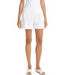 women's club monaco belted chino shorts, size 10 - white
