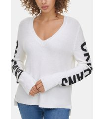 calvin klein jeans graphic v-neck sweater