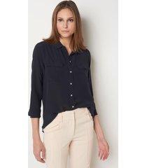 camisa le lis blanc lucia night blue seda azul feminina (night blue, 50)