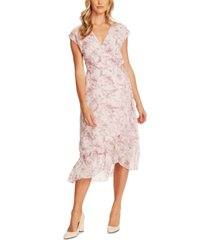 vince camuto botanical breeze floral-print faux-wrap dress